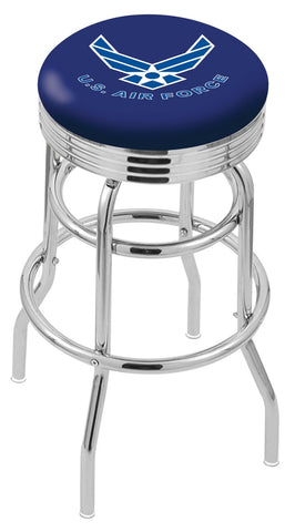 "30"" L7C3C - Chrome Double Ring U.S. Air Force Swivel Bar Stool with 2.5"" Ribbed Accent Ring by Holland Bar Stool Company"