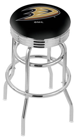 "30"" L7C3C - Chrome Double Ring Anaheim Ducks Swivel Bar Stool with 2.5"" Ribbed Accent Ring by Holland Bar Stool Company"