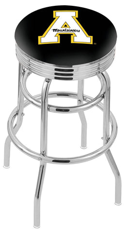 "ASU Mountaineers 30"" L7C3C - Chrome Double Ring Appalachian State Swivel Bar Stool with 2.5"" Ribbed Accent Ring by Holland Bar Stool Company"