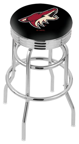 "30"" L7C3C - Chrome Double Ring Arizona Coyotes Swivel Bar Stool with 2.5"" Ribbed Accent Ring by Holland Bar Stool Company"