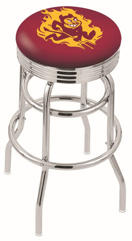 "ASU Sun Devils 30"" L7C3C - Chrome Double Ring Arizona State Swivel Bar Stool with 2.5"" Ribbed Accent Ring by Holland Bar Stool Company"
