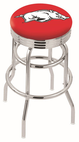 "Arkansas Razorbacks 30"" L7C3C - Chrome Double Ring Arkansas Swivel Bar Stool with 2.5"" Ribbed Accent Ring by Holland Bar Stool Company"