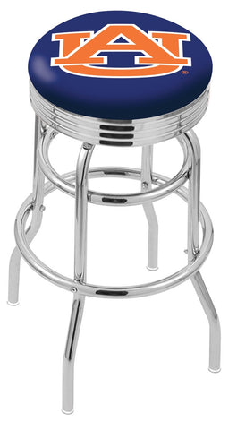 "Auburn  Tigers 30"" L7C3C - Chrome Double Ring Auburn Swivel Bar Stool with 2.5"" Ribbed Accent Ring by Holland Bar Stool Company"