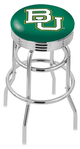"Baylor  Bears 30"" L7C3C - Chrome Double Ring Baylor Swivel Bar Stool with 2.5"" Ribbed Accent Ring by Holland Bar Stool Company"