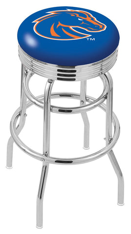 "BSU Broncos 30"" L7C3C - Chrome Double Ring Boise State Swivel Bar Stool with 2.5"" Ribbed Accent Ring by Holland Bar Stool Company"