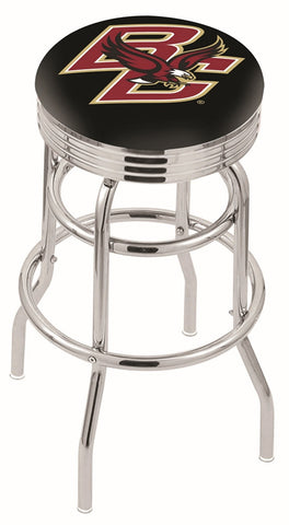 "BC Eagles 30"" L7C3C - Chrome Double Ring Boston College Swivel Bar Stool with 2.5"" Ribbed Accent Ring by Holland Bar Stool Company"