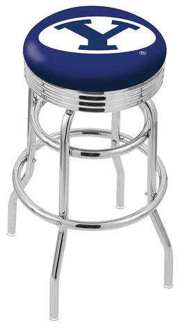 "BYU Cougars 30"" L7C3C - Chrome Double Ring Brigham Young Swivel Bar Stool with 2.5"" Ribbed Accent Ring by Holland Bar Stool Company"