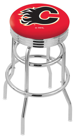 "30"" L7C3C - Chrome Double Ring Calgary Flames Swivel Bar Stool with 2.5"" Ribbed Accent Ring by Holland Bar Stool Company"