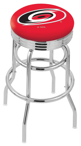 "30"" L7C3C - Chrome Double Ring Carolina Hurricanes Swivel Bar Stool with 2.5"" Ribbed Accent Ring by Holland Bar Stool Company"