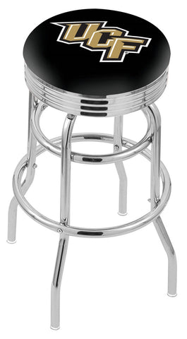 "UCF Knights 30"" L7C3C - Chrome Double Ring Central Florida Swivel Bar Stool with 2.5"" Ribbed Accent Ring by Holland Bar Stool Company"