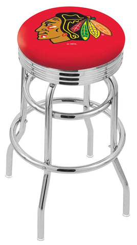 "30"" L7C3C - Chrome Double Ring Chicago Blackhawks Swivel Bar Stool with 2.5"" Ribbed Accent Ring by Holland Bar Stool Company"