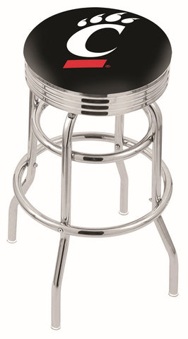 "UC Bearcats 30"" L7C3C - Chrome Double Ring Cincinnati Swivel Bar Stool with 2.5"" Ribbed Accent Ring by Holland Bar Stool Company"