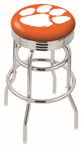 "Clemson  Tigers 30"" L7C3C - Chrome Double Ring Clemson Swivel Bar Stool with 2.5"" Ribbed Accent Ring by Holland Bar Stool Company"