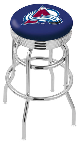 "30"" L7C3C - Chrome Double Ring Colorado Avalanche Swivel Bar Stool with 2.5"" Ribbed Accent Ring by Holland Bar Stool Company"