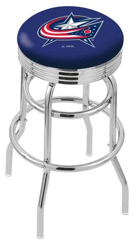 "30"" L7C3C - Chrome Double Ring Columbus Blue Jackets Swivel Bar Stool with 2.5"" Ribbed Accent Ring by Holland Bar Stool Company"