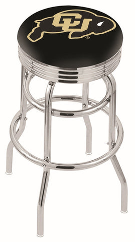 "Colorado Buffaloes 30"" L7C3C - Chrome Double Ring Colorado Swivel Bar Stool with 2.5"" Ribbed Accent Ring by Holland Bar Stool Company"