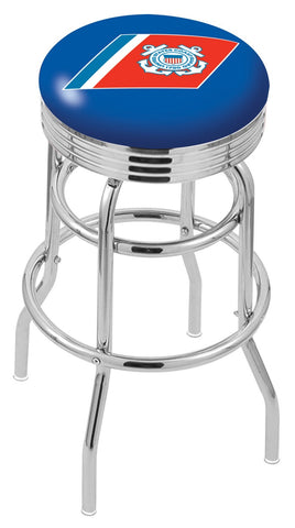 "30"" L7C3C - Chrome Double Ring U.S. Coast Guard Swivel Bar Stool with 2.5"" Ribbed Accent Ring by Holland Bar Stool Company"