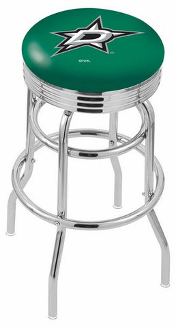 "30"" L7C3C - Chrome Double Ring Dallas Stars Swivel Bar Stool with 2.5"" Ribbed Accent Ring by Holland Bar Stool Company"