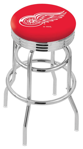 "30"" L7C3C - Chrome Double Ring Detroit Red Wings Swivel Bar Stool with 2.5"" Ribbed Accent Ring by Holland Bar Stool Company"