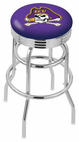 "ECU Pirates 30"" L7C3C - Chrome Double Ring East Carolina Swivel Bar Stool with 2.5"" Ribbed Accent Ring by Holland Bar Stool Company"