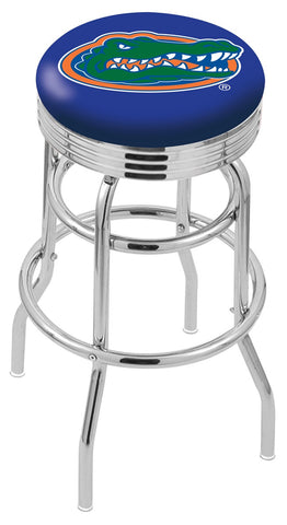 "UF Gators 30"" L7C3C - Chrome Double Ring Florida Swivel Bar Stool with 2.5"" Ribbed Accent Ring by Holland Bar Stool Company"