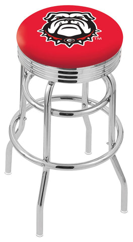 "UGA Bulldogs 30"" L7C3C - Chrome Double Ring Georgia ""Bulldog"" Swivel Bar Stool with 2.5"" Ribbed Accent Ring by Holland Bar Stool Company"
