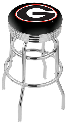 "UGA Bulldogs 30"" L7C3C - Chrome Double Ring Georgia ""G"" Swivel Bar Stool with 2.5"" Ribbed Accent Ring by Holland Bar Stool Company"