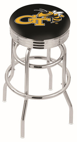 "Georgia Tech Yellow Jackets 30"" L7C3C - Chrome Double Ring Georgia Tech Swivel Bar Stool with 2.5"" Ribbed Accent Ring by Holland Bar Stool Company"