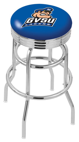 "GVSU Lakers 30"" L7C3C - Chrome Double Ring Grand Valley State Swivel Bar Stool with 2.5"" Ribbed Accent Ring by Holland Bar Stool Company"