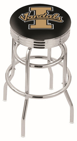 "Idaho Vandals 30"" L7C3C - Chrome Double Ring Idaho Swivel Bar Stool with 2.5"" Ribbed Accent Ring by Holland Bar Stool Company"