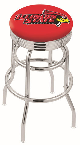 "ISU Redbirds 30"" L7C3C - Chrome Double Ring Illinois State Swivel Bar Stool with 2.5"" Ribbed Accent Ring by Holland Bar Stool Company"