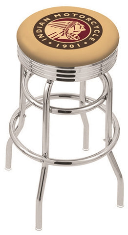 "30"" L7C3C - Chrome Double Ring Indian Motorcycle Swivel Bar Stool with 2.5"" Ribbed Accent Ring by Holland Bar Stool Company"