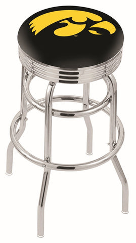 "Iowa Hawkeyes 30"" L7C3C - Chrome Double Ring Iowa Swivel Bar Stool with 2.5"" Ribbed Accent Ring by Holland Bar Stool Company"