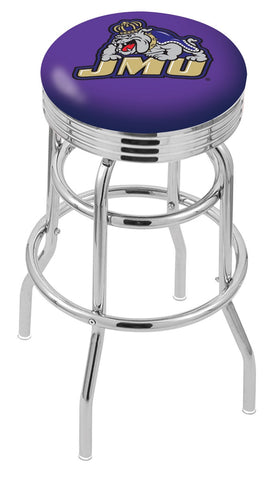 "JMU Dukes 30"" L7C3C - Chrome Double Ring James Madison Swivel Bar Stool with 2.5"" Ribbed Accent Ring by Holland Bar Stool Company"