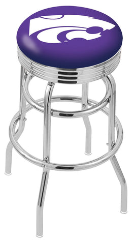 "KSU Wildcats 30"" L7C3C - Chrome Double Ring Kansas State Swivel Bar Stool with 2.5"" Ribbed Accent Ring by Holland Bar Stool Company"