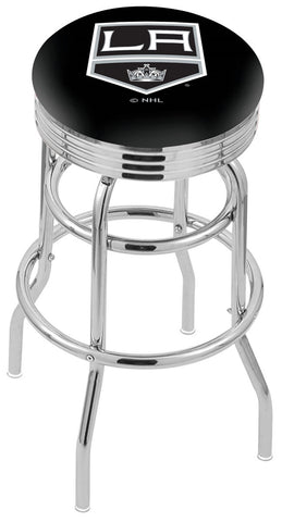 "30"" L7C3C - Chrome Double Ring Los Angeles Kings Swivel Bar Stool with 2.5"" Ribbed Accent Ring by Holland Bar Stool Company"