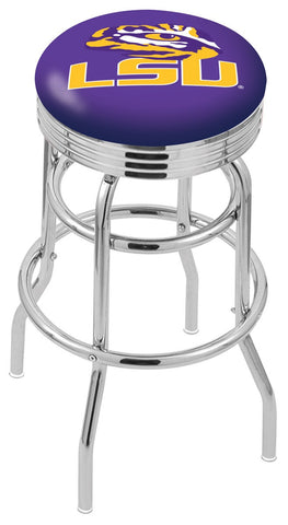 "LSU Tigers 30"" L7C3C - Chrome Double Ring Louisiana State Swivel Bar Stool with 2.5"" Ribbed Accent Ring by Holland Bar Stool Company"