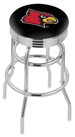 "UofL Cardinals 30"" L7C3C - Chrome Double Ring Louisville Swivel Bar Stool with 2.5"" Ribbed Accent Ring by Holland Bar Stool Company"