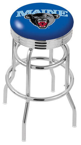 "Maine Black Bears 30"" L7C3C - Chrome Double Ring Maine Swivel Bar Stool with 2.5"" Ribbed Accent Ring by Holland Bar Stool Company"