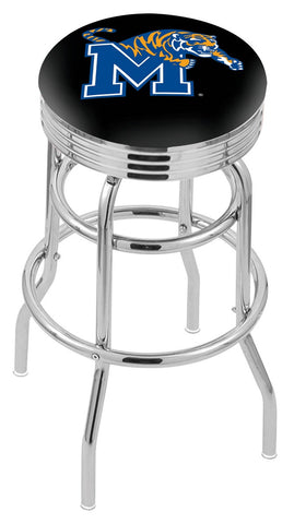 "Memphis Tigers 30"" L7C3C - Chrome Double Ring Memphis Swivel Bar Stool with 2.5"" Ribbed Accent Ring by Holland Bar Stool Company"