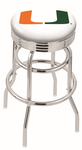 "Miami Hurricanes 30"" L7C3C - Chrome Double Ring Miami (FL) Swivel Bar Stool with 2.5"" Ribbed Accent Ring by Holland Bar Stool Company"