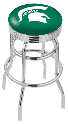 "MSU Spartans 30"" L7C3C - Chrome Double Ring Michigan State Swivel Bar Stool with 2.5"" Ribbed Accent Ring by Holland Bar Stool Company"