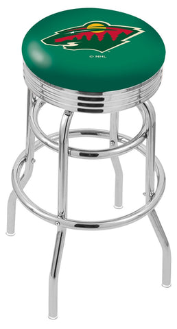 "30"" L7C3C - Chrome Double Ring Minnesota Wild Swivel Bar Stool with 2.5"" Ribbed Accent Ring by Holland Bar Stool Company"