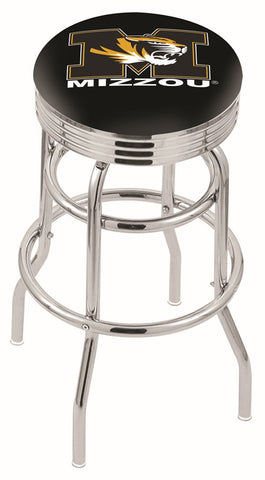 "Mizzou Tigers 30"" L7C3C - Chrome Double Ring Missouri Swivel Bar Stool with 2.5"" Ribbed Accent Ring by Holland Bar Stool Company"