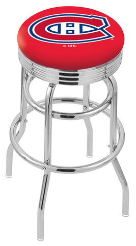 "30"" L7C3C - Chrome Double Ring Montreal Canadiens Swivel Bar Stool with 2.5"" Ribbed Accent Ring by Holland Bar Stool Company"