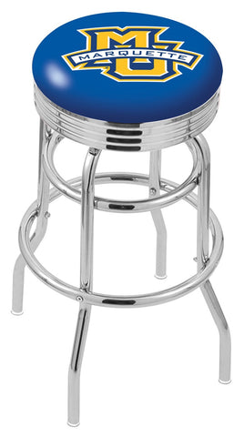 "Marquette Golden Eagles 30"" L7C3C - Chrome Double Ring Marquette Swivel Bar Stool with 2.5"" Ribbed Accent Ring by Holland Bar Stool Company"