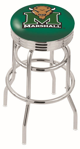 "Marshall  Thundering Herd 30"" L7C3C - Chrome Double Ring Marshall Swivel Bar Stool with 2.5"" Ribbed Accent Ring by Holland Bar Stool Company"