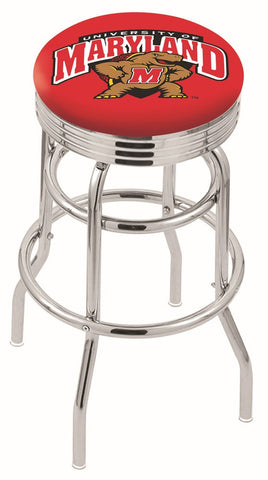 "UM Terrapins 30"" L7C3C - Chrome Double Ring Maryland Swivel Bar Stool with 2.5"" Ribbed Accent Ring by Holland Bar Stool Company"