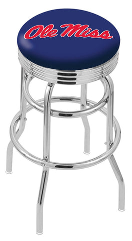 "Ole Miss Rebels 30"" L7C3C - Chrome Double Ring Ole' Miss Swivel Bar Stool with 2.5"" Ribbed Accent Ring by Holland Bar Stool Company"