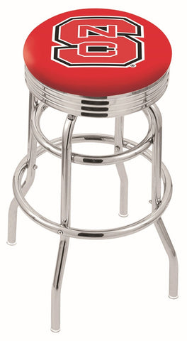 "NC State Wolfpack 30"" L7C3C - Chrome Double Ring North Carolina State Swivel Bar Stool with 2.5"" Ribbed Accent Ring by Holland Bar Stool Company"